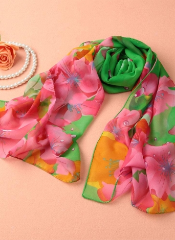 Nouveau Femmes Foulard en mousseline de soie Contraste Floral impression couleur Colorful long Châle Pashmina