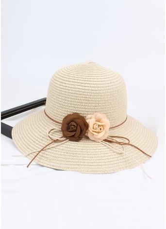 Women Straw Hat Contrast Flower Color Block Foldable Sweet Sun Summer Outdoor Beach Cap
