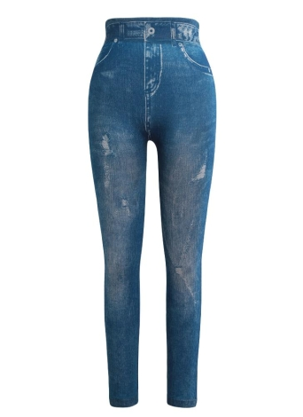 Las mujeres imprimieron los pantalones flacos Las polainas casuales de los pantalones vaqueros del dril de algodón