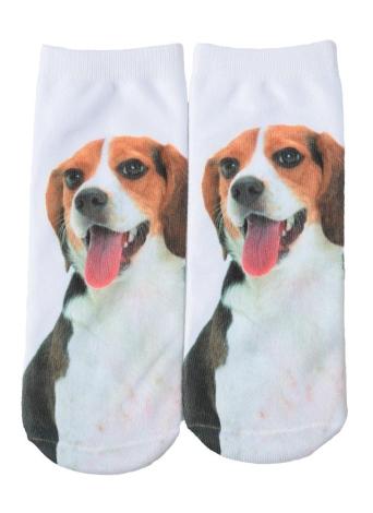 Nouveau Mode Femmes Chaussettes Chien mignon Imprimer Low Cut respirantes Stretchy Casual Ankle Socks