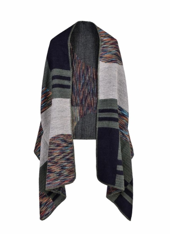 Vintage Knitted Faux Cashmere Stripe Pattern Casaco de poncho feminino