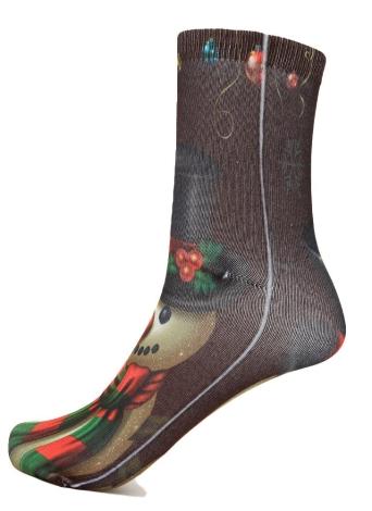 Moda Donna Calze di Natale Babbo Natale del pupazzo di neve regalo casuale Festive cotone stampato calzini Calze