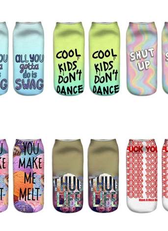5 Paires Filles Femmes cool Fun Fou Design Cute Fashion Colorful Casual Patron Socks Doux Low Cut cheville Unisexe 3D Creative Novelty
