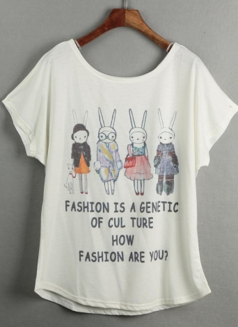 Lovely Special Print Batwing T-shirt