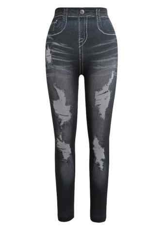 Pantalones de mezclilla estampados con estampado de mezclilla