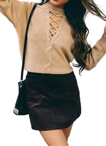 Schnüren Sie sich Dropped Schulter Langarm gestrickten Pullover