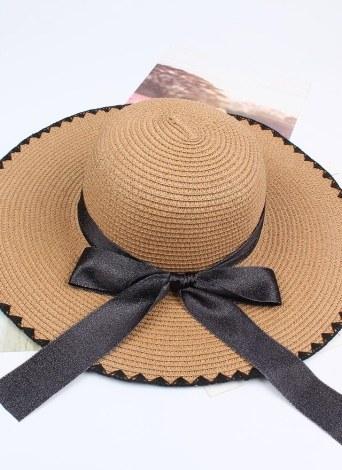 Women Sun Straw Hat Contrast Bowknot Wide Large Brim Foldable Floppy Casual Summer Beach Cap
