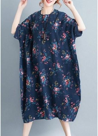 Women Floral Print Loose Dress Side Pocket Baggy Long Dress