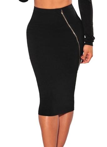 8fcd37ac2 un tamaño negro Nuevas mujeres Midi falda Stretch cremallera de la ...