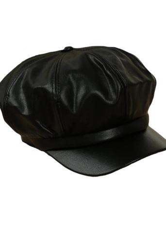 41897701f52 black Women Beret PU Leather Cap - Chicuu