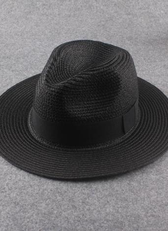c3a0874dca3 Summer Ribbon Trim Wide Brim Foldable Fedora Trilby Black Straw Hat