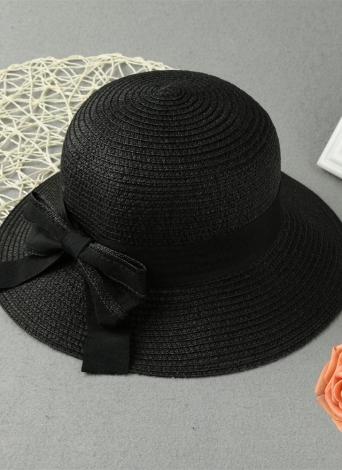 Le donne dell'arco nuovo modo Cappello di paglia bordo largo solido Beach Summer Sun Cap Floppy Trilby nero / beige / rosa