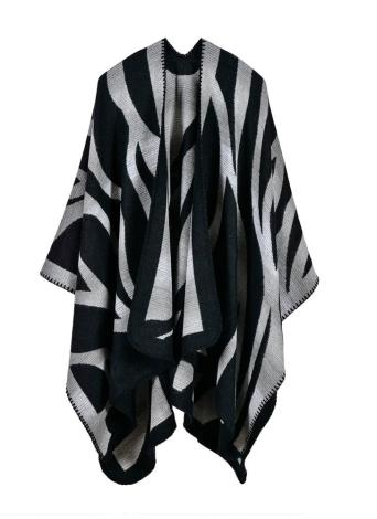 schwarz Mode Pullover Gestreifte Faux Kaschmir Capes Damen