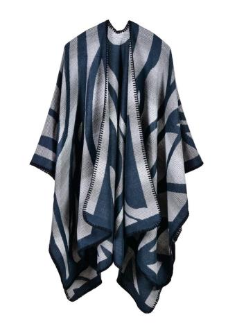 dunkelblau Mode Pullover Gestreifte Faux Kaschmir Capes