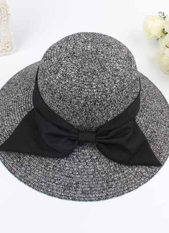 Fashion Women Sun Hat Big Bow Wide Brim Foldable Straw Hat Summer Beach Sun Protection Hat Cap