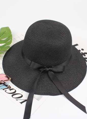 Summer Women Straw Hat Ribbon Bow Wide Brim Sun Beach Cap Holiday Fedora Trilby Hat