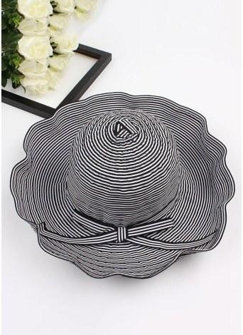 New Summer Women Striped Cloth Sun Hat Foldable Large Brim Bow Decoration Beach Hat Cap
