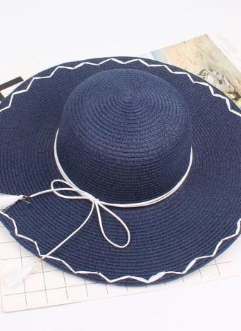 New Fashion Foldable Wide Brim Straw Hat Tassel Bowknot Decor Outdoor Beach Shade Sun Hats