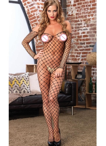 Sexy Off Shoulder Backless Open Crotch Hollow Out  Fishnet Body Stocking