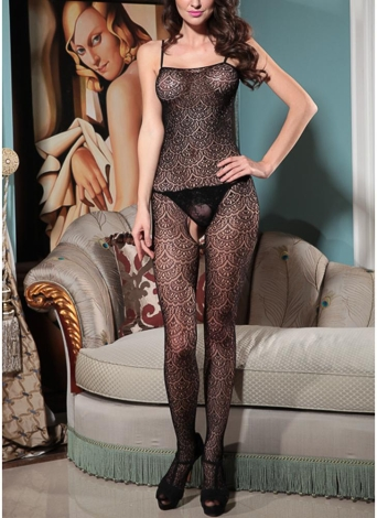 Mujeres Sheer Lace Jumpsuit Body Stocking Body Spaghetti Strap Backless lencería ropa de dormir