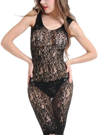 Femmes Lingerie pure dentelle Babydoll Dress évider dos nu sans manches vêtements de nuit
