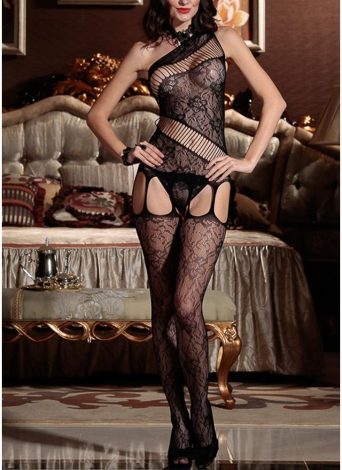 Donne Lingerie Bodystockings Mesh Erotic Bodysuit Open Crotch Sleepwear Underwear