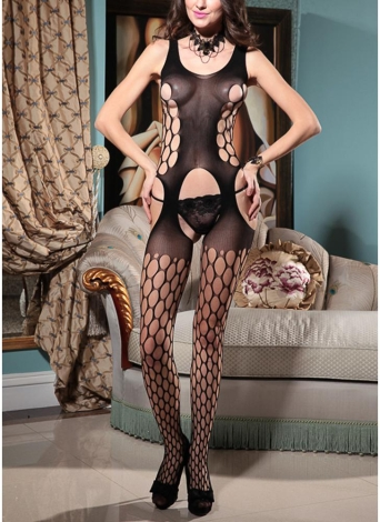 Чулки для тела Sheer Mesh Hollow Out Crotchless Erotic Bodysuit