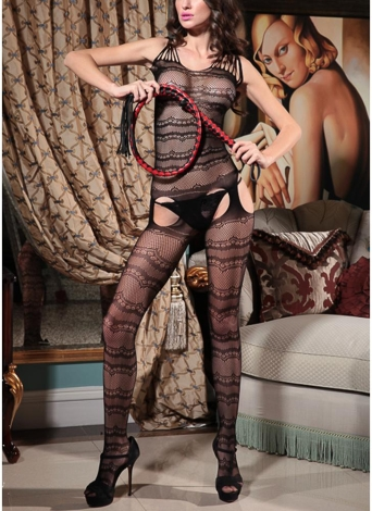 Mulheres Oco Out Fishnet Lingerie Meia Do Corpo Crotchless Bodysuit Nightwear Babydoll