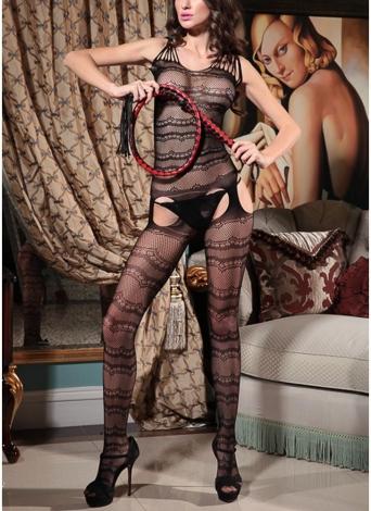 Las mujeres ahuecan la red de rejilla de la ropa interior del cuerpo Body sin entrepierna Ropa de dormir Babydoll