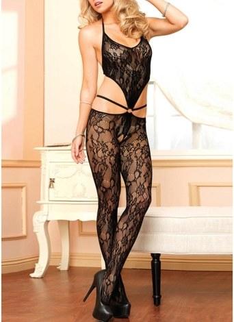 Women Lingerie Body Stocking Sheer Lace Open Crotch Erotic Bodysuit Sleepwear Nightwear