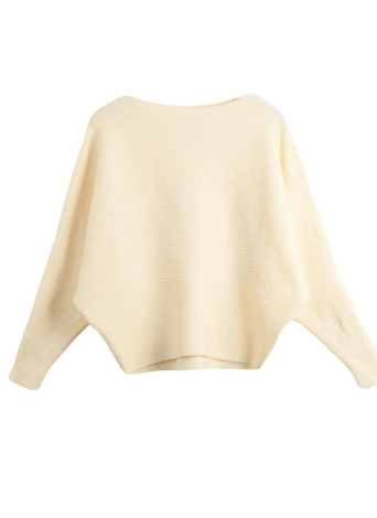 Slash Neck Long Batwing Sleeve Solid Color Sweater Knitted Pullover