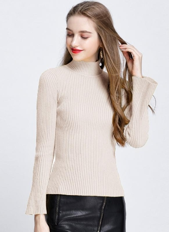 Moda Mulheres de inverno com nervuras mangas Flare Colar de pérolas Camisola feminina