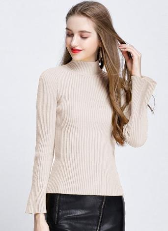 Mode Winter Frauen Ribbed Flare Ärmel stehen Kragen Damen Pullover