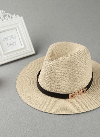 Moda Unissex Sun Hat chapéu de palha Sólidos aba larga Metal Belt Verão Sunbonnet praia de Panama Hat Brown / Beige