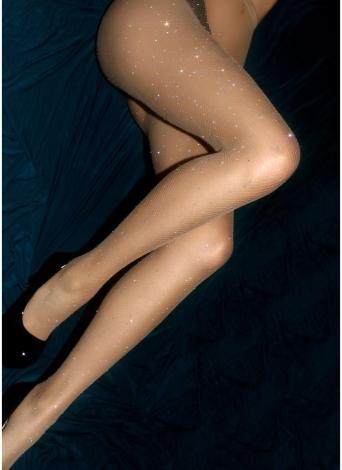 Femmes bas collants strass Mesh résille Glitter extensible