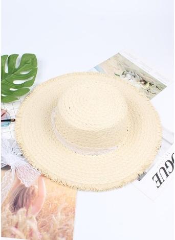 Moda Donna Cappello di Paglia Estate Primavera Trip Caps Tesa larga da spiaggia pieghevole in perle da spiaggia