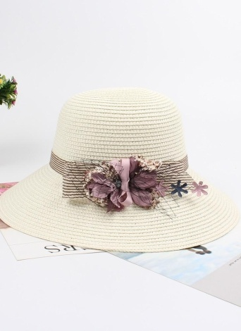 Femmes été soleil paille chapeau arc fleur réglable dôme Panama Beach Holiday Cap