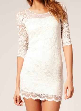 Lace Scoop Neck Evening Women's Bodycon Mini Dress