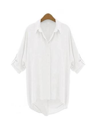 Neue Fashion Frauen Chiffon Shirt Turn-Down-Kragen langarm lose Top Bluse weiß
