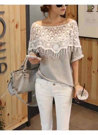 Tapas de moda mujeres blusa Crochet encaje manga del Batwing camisa bordado  Slash cuello gris f8dc97c1797