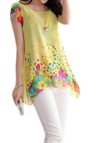 Fashion Floral Print Hollow Out Overlay Petal Sleeve Chiffon Blouse