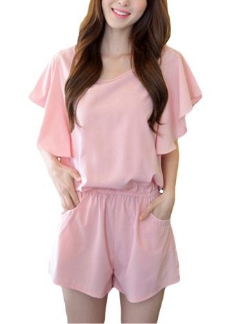 Sweet Casual Butterfly Sleeves Side Pockets Stretch Waist Brief Rompers