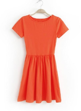 Новый случайный женщин Джерси платье солидный дизайн короткие рукава тонкий подходит сладкий цельный оранжевый