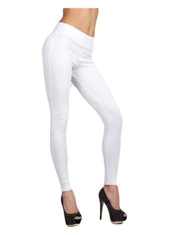 Moda mujer moda Leggings Color sólido cremallera cintura elástico pantalones