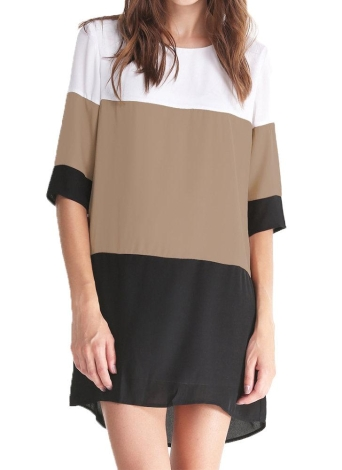 Nuova moda donna abito in Chiffon Color blocco 1/2 manica Plus Size sciolto MAIUSC Mini abito