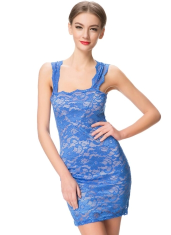 Sexy Lace Nude Illusion Sleeveless Mini Bodycon Dress
