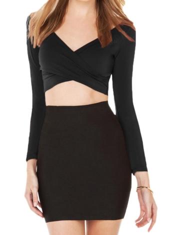 Women Crop Top Plunge V Neck Cross Front Clubwear
