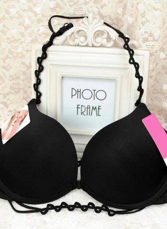 Мода женщин бюстгальтер Холтер шеи Передняя застежка гладкая поверхность пуш-ап женское белье