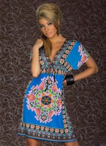 Retro Frauen Böhmische Kleid Paisley Print V-Ausschnitt kurze Ärmel Beach Wear-Sommerkleid