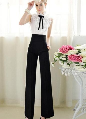 Femmes Vintage Loose pantalon fermeture éclair taille haute poche torche avant jambes larges OL carrière Pants Black